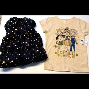 Healthtex Girls 5 besties shirt puffer vest gold